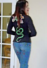 VTG 90s Wilsons GG Look SNAKE Flower patches FITTED Leather PUNK Moto JACKET