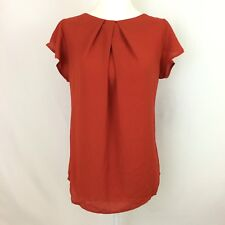 Monteau Orange Pleated Flutter Sleeve Open Tie Back Blouse Size Large NWT!