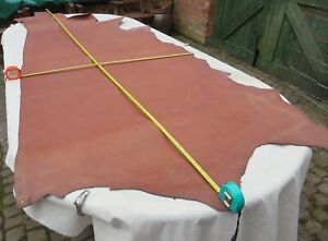 """DARK TAN EMBOSSED VEG TAN  LEATHER HIDE 2.5mm  90"""" X 34"""" OLD STOCK  CLEARANCE"""