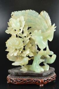 L2080: Japanese XF Stone jade/jewels BIRD STATUE sculpture Ornament w/tray