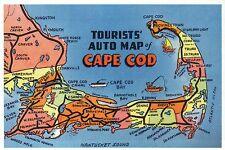 Auto Map of Cape Cod Massachusetts, Provincetown, Hyannis etc. - Modern Postcard
