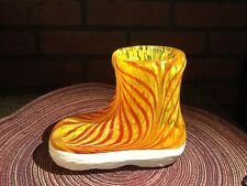 "Vintage Art Glass Yellow and Red ""Rubber Rain Boot"" Vase"