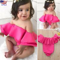 Infant Kids Baby Girl Ruffles Sleeveless Princess Jumpsuit Romper Clothes Summer