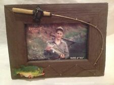 NEW River's Edge Picture Frame Barnwood Bass Fishing Desktop - Wall Mount