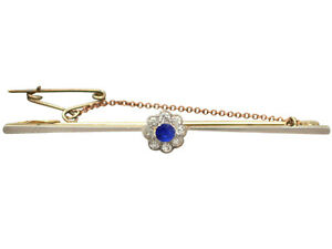Antique Sapphire and Diamond Cluster, 15k Yellow Gold Bar Brooch