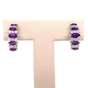 Designer Sterling Silver, Rhinestone & Amethyst ½ Hoop Pierced Earrings! 114