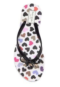 Kate Spade Sandals Nova Black Shiny Rubber Hearts Flip Flops Shoes 10 NEW IN BOX