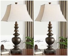 PAIR MID CENTURY TEXTURED TUSCAN BRONZE TABLE LAMPS GOLD ACCENTS