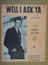 Foglio CANZONE e chiedo YA EDEN Kane 1961