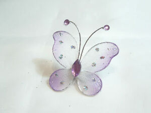 Wholesale pack of 100 x Gauze Butterfly Embellishments: BNLGB09 Lilac/White