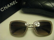 New AUTHENTIC CHANEL Sunglasses4203 C456/S5 Silver/ Beige Brown Rectangular