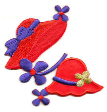 Red Hat - Fashion Red Hats W/Purple Flowers Embroidered Iron On Applique Patch