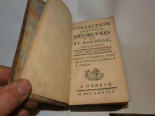 COLLECTION COMPLETE du œuvre de J.J. Rousseau ~ tome vingt-Quatrieme ~ 1782