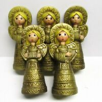 "Set 5 Vintage Paper Mache Christmas ANGELS Figures 7"" Gold 60s MCM Big Eye Japan"