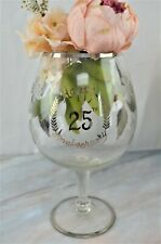 Silver 25th Wedding Anniversary Giant Wine Glass w.  Silver Flower Etched Design