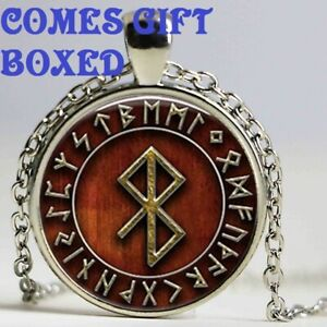 VIKING PEACE RUNE RUNIC 22 INCH CHAIN PENDANT NECKLACE TALISMAN WITH GIFT BOX