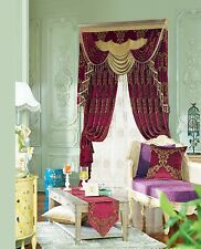 Burgundy Dark Gold Bronze Jacquard Chenille Victorian Style Curtain Valance Sway