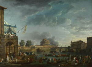 Claude Joseph Vernet A Sporting Contest on the Tiber Giclee Paper Print Poster