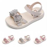 Cute Bowknots Summer Kids Girls Princess Shoes Open Toe Walking Sandals Soft B