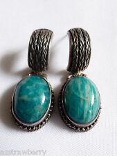 VTG Genuine oval cut stone sterling silver 925 dangle earrings