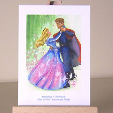 Aceo princesse aurora et phillip sleeping beauty bleu & rose robe wdcc dessin