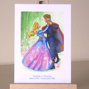 ACEO Princess Aurora and Phillip Sleeping Beauty blue & pink dress WDCC drawing