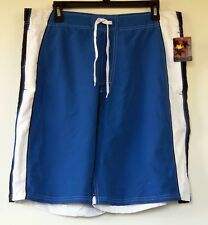 NEW NWT Joe Boxer Blue Polyester Swim Shorts Trunks with Mesh Brief Liner  L