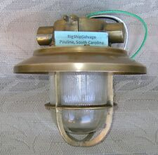 Small Vintage Brass Ceiling Light With Deflector Cover - Us Wiring!