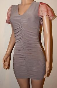 VICKY MARTIN nude peach beige fitted gathered bodycon mini dress 10 12 BNWTparty