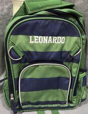 "40d4926ec5 Pottery Barn Kids Green Navy Stripe Fairfax Small Backpack ""Leonardo""  Monogram"