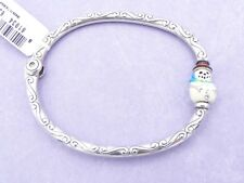 BRIGHTON Charm Bead Bangle Silver Bracelet CHILLY Snowman Hinged NEW!