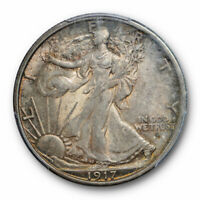 1917 D 50C Obverse Walking Liberty Half Dollar PCGS MS 62 Uncirculated Cert#1638