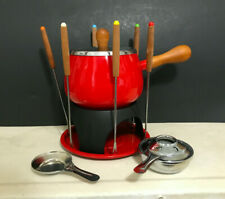 Vintage Red Enameled Fondue Pot Set Warming Pot New, never used