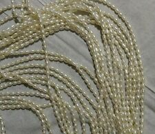 1Strand Vintage Fresh Water Rice Pearls Creamy White ~2.8mmx3.7mm-4mm OldStock