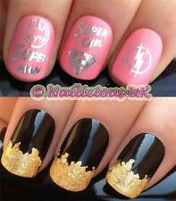 NAIL ART SET #50. SILVER SUPERHEROES WATER TRANSFERS/DECALS/STICKERS & GOLD LEAF