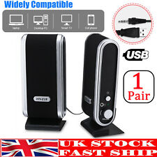 More details for pair portable for pc laptop computer desktop usb black stereo speakers system 3w