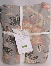 "Pottery Barn Emmaline floral print linen cotton bed skirt, king, gray, 14"" drop"