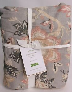 "Pottery Barn Emmaline floral print linen cotton bed skirt, king, gray, 14"" drop"