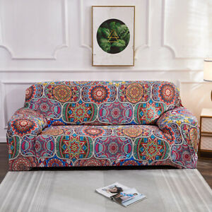 2/3/4Seater Stretch Bohemian Sofa Covers Couch Cover Elastic Slipcover Protector