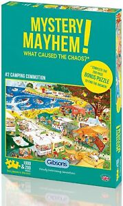 Mystery Mayhem Camping Commotion 1000 Piece Jigsaw Puzzle Plus 200 Gibsons