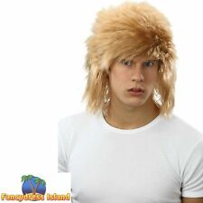 1980's BLONDE/PINK SHAGGY SPIKEY MULLET WIG Adults Mens Fancy Dress Costume