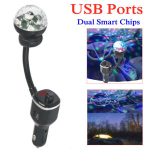 Car Charger Lamp Fast Charging USB Port Bluetooth Phone Player Transmitter ABS