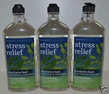 3 BATH BODY WORKS AROMATHERAPY STRESS RELIEF EUCALYPTUS BASIL WASH FOAM GEL LOT
