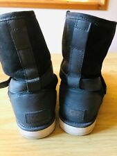 Genuine Women's short black leather & suede UGG boots size 8
