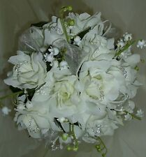 WEDDING FLOWERS BRIDAL POSY  BOUQUET CREAM ROSES AND LILY OF THE VALLEY