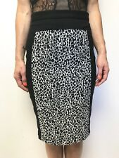 CUE white black textured pattern panel pencil skirt sz 8