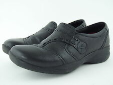 Clarks Everyday Casual Solid Black Leather Walking Shoes Womens 9 M EUC!!