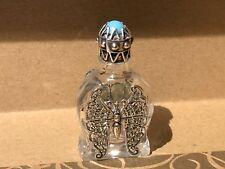 Antique Vintage Sterling/Silver Filagree Perfume Bottle  Czech Jeweled Cap