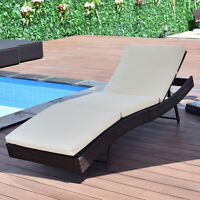 Patio Sun Bed Adjustable Pool Wicker Lounge Chair Outdoor Furniture W/Cushion