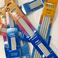 Pony Double Ended Knitting Pins 20cm Long - 2mm up to 10mm diameter - Free Post